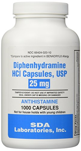 Generic Benadryl Allergy - Diphenhydramine  - 1000 Capsules