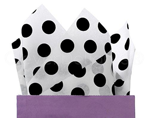 CleverDelights Black Polka Dot Premium Tissue Paper - 300 Sheets - 20'' x 30'' - Acid-Free Gift Paper Bulk by CleverDelights