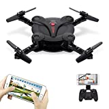 Goolsky Mini RC Quadcopter Foldable Drone with WiFi FPV Camera Live Video Altitude Hold&3D Flips&Gravity Sensor Phone Control or Remote Controller