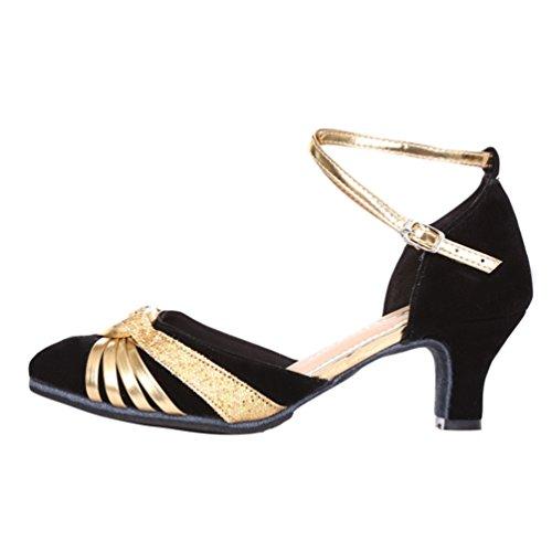 Tacco oro Scarpe Donna da Professionali Casual Ballo da da Nero con Basso Scarpe Sera Estate Sandali Lihaer Primavera Latin R4FEUU