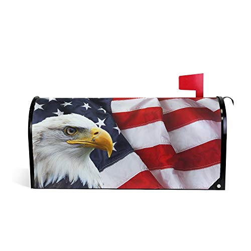 ALAZA Welcome Mailbox Covers Magnetic Eagle and USA American Flag Patriotic Post Box Cover Wrapped Standard Size 20.7 x 18.03 Inch for Garden Yard Decor