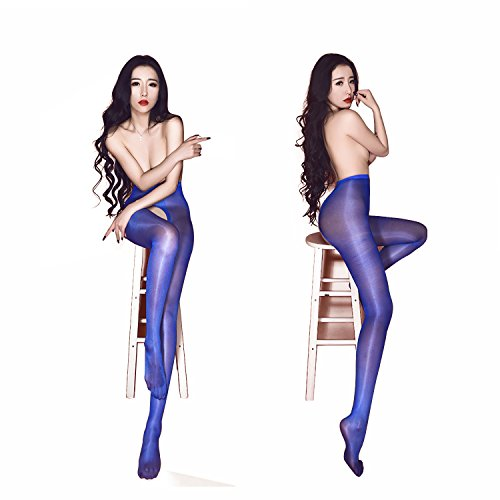 Womens Sexy Crotchless Lace Pantyhose, Blue, One Size (Blue Crotchless Panties)