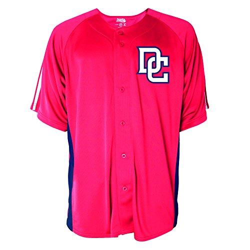 MLB Washington Nationals Men's Button Down Fashion Jersey, Red, X-Large