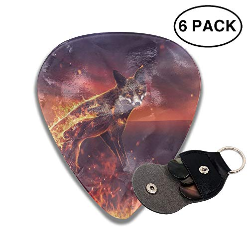 Colby Keats Guitar Picks Plectrums Fire Fox Classic Electric Celluloid Acoustic for Bass Mandolin Ukulele 6 Pack 3 Sizes .46mm -