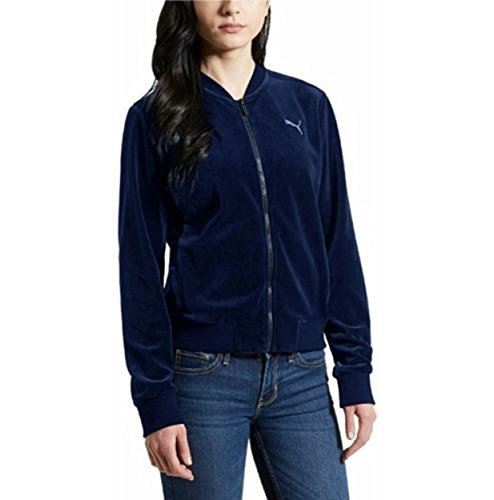 PUMA Womens Velour Track Jacket 594214 (Blue Depths, Small)