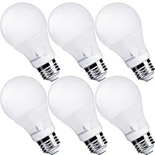 Hyperikon LED Light Bulb A19 9W=60W, Non Dimmable LED Lighting E26 Medium Screw Base, Omnidirectional, UL, Daylight White, 6 Pack