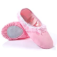 Mljsh Baby Girl's Classic split-sole Ballet Slippers Pink Canvas Dance Shoes Flats with Bow