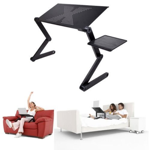 360°Adjustable Foldable Laptop Notebook PC Desk Table Vented Stand Bed Sofa Tray by Foldable Desk