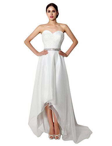 Belle House Women's Strapless Hi Lo Wedding Dresses With Train Ivory Sweetheart Bead Bridal Dresses 2018