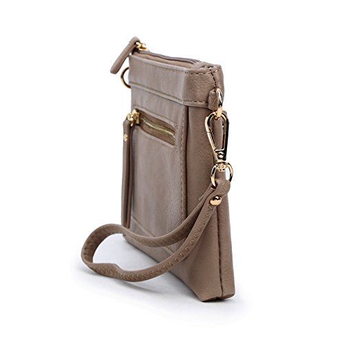 Solene Multi Compartment Dk Bag Shoulder Wristlet Leather Lightweight brick Women's Faux Crossbody amp; TrqErt
