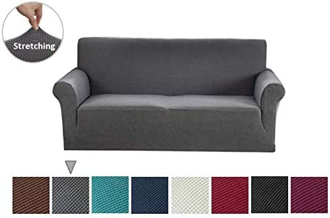 Argstar Jacquard Sofa Slipcover, Gray Stretch Couch Slip Cover, Spandex  Furniture Protector for 3 Cushion Seater, Sofa Cover for Living Room,  Machine ...