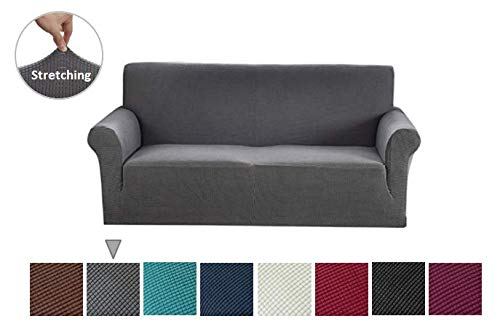 Argstar Jacquard Sofa Slipcover, Gray Stretch Couch Slip Cover, Spandex Furniture Protector for 3 Cushion Seater, Sofa Cover for Living Room, Machine Washable (Gray Couch Slipcover)