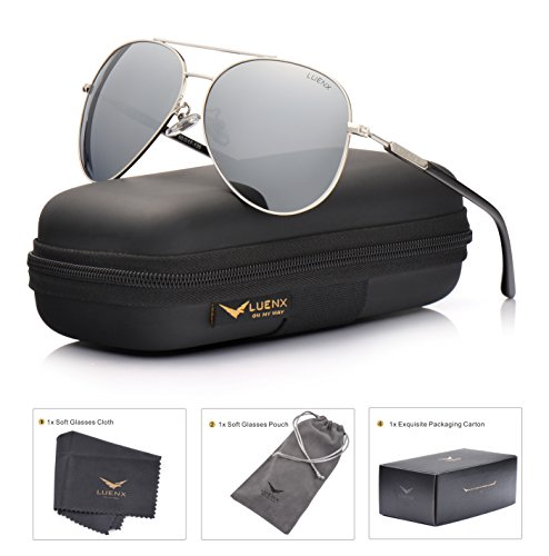 LUENX Aviator Sunglasses Mens Womens Polarized Mirror - Silver Lens Silver Metal Frame 60mm - UV 400 Protection with - Polarization Sunglasses