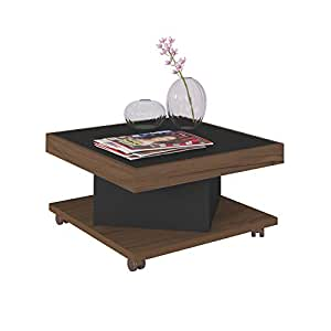 Artely Saara Coffee Table, Walnut/Black, 33.5 cm x 63 cm x 63 cm