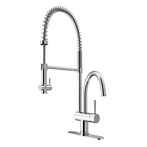 Chrome Commercial Single Handle - VIGO VG02006CHK1 Dresden Single Handle Pull-Down Sprayer Kitchen Sink Faucet with Deck Plate, Centerset Single Hole Faucet, Commercial-Style Design, Premium Chrome Finish
