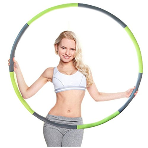 Minch Weighted adult Hula Hoop, Perfect for Dancing Exercise Fitness and Weight Loss3lb (Green-Gray)