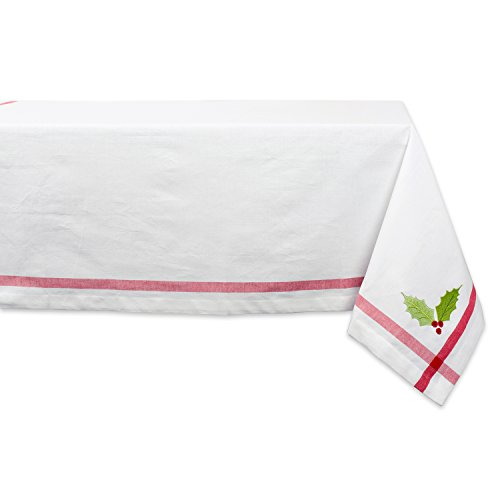 - Embroidered Holly Square Tablecloth, 100% Cotton with 1/2