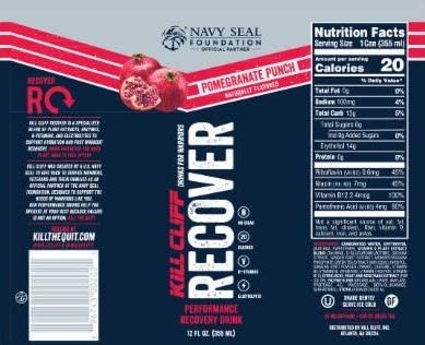 Kill Cliff Pomegranate Punch Recovery & Hydration Drink 16-12 oz Cans 7