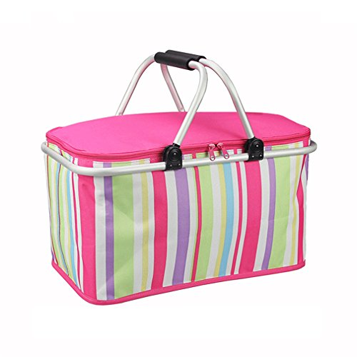 XMCOWAYOU Foldable Cooler Insulated Picnic Basket for Camping, Hiking, Climbing Pink