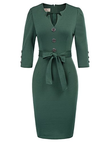 Belt Office Pencil KARIN Business Women with Retro Sleeve Dress 4 Green Work 3 GRACE 6Aqwa77x