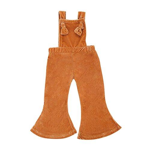 Velvet Bell Bottom Pants (Minesiry Toddler Baby Girl Loose Crushed Velvet Bib Overall Flares Bell Bottom Pants (Brown, 1-2T))