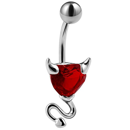 14g 3/8 Belly Button Navel Ring 316L Surgical Steel Bar Red Indian Heart Devil Cubic Zirconia CZ Crystal Piercing Jewelry
