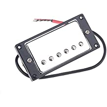 Musiclily 50mm Neck Humbucker Pickup Double Coil Pickup for Gibson Les Paul Guitar, Chrome with Black Frame