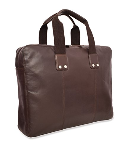 V-élan Men's Leather Formal Slim Briefcase With Laptop Sleeve 15.25W x 12H x 2.75D inches Espresso ()