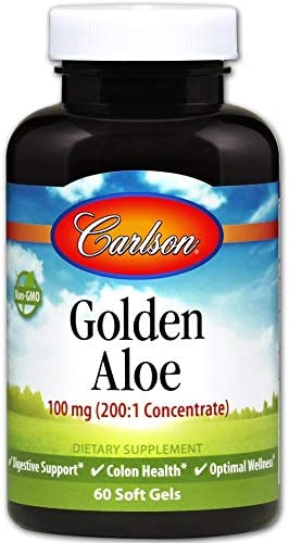 Carlson – Golden Aloe, 100 mg 200 1 Concentrate , Digestive Support Colon Health, Optimal Wellness, 60 Softgels