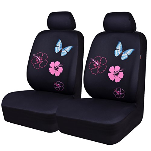 CAR PASS Flower and Butterfly Universal Car Seat Covers, Suvs,sedans,Vehicles,Airbag Compatible (6PCS, Black and Pink)