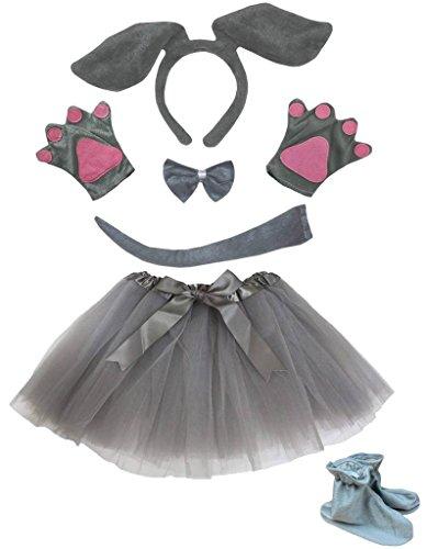 Petitebella Dog Headband Bowtie Tail Glove Shoes Tutu Girl 6pc Costume (One Size, Gray Dog) ()