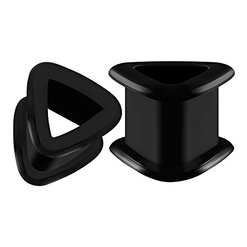 BIG GAUGES Pair Triangle Shaped Silicone 1/2 inch Gauge 12mm Black Double Flared Piercing Jewelry Ear Tunnel Earring Stretcher BG0354