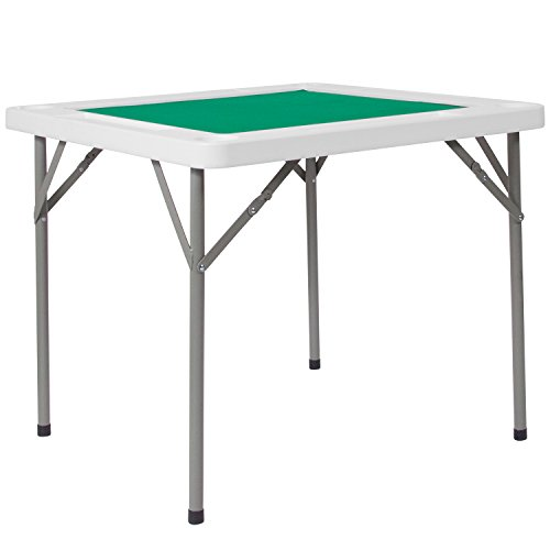 Flash Furniture 34.5'' Square Granite White Folding Game Table with Green Playing Surface - DAD-MJZ-88-GG (The Game Table)