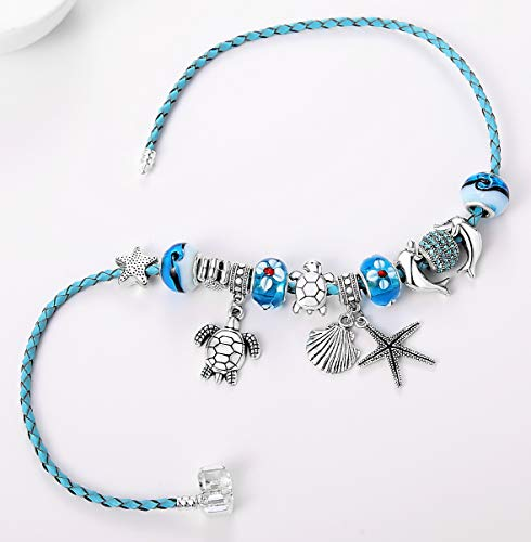 04017cbaaa8ca Majesto Beach Charm Bracelet for Women and Girls 7-8.5 Inch Shell ...