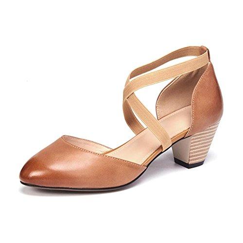 KJJDE Sandalias Mujer Zapatilla Chanclas WSXY-L0321 Correas Elásticas Cruzadas Confort Tacón Zapatos Para Caminar Light Brown