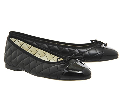 Office Cecilia Toe Cap Ballet Pumps Black Leather Patent JgD1Ek71