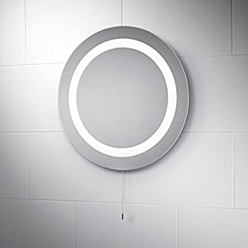 Pebble Grey Round LED Illuminated Battery Powered Bathroom Mirror With Pull Cord To Activate Lights Azure