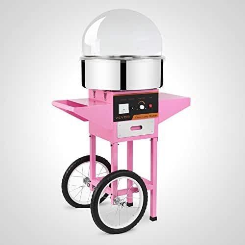 Forkwin Cotton Candy Machine 7 Servings/Min Cotton Candy Maker Stainless Steel Candy Floss Machine With Cart&Cover Cotton Candy Machine Commercial