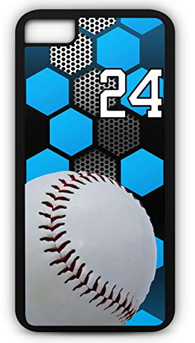 iPhone 8 Case Baseball B031Z Choice of Any Personalized Name or Number Tough Phone Case by TYD Designs in Black Plastic and Black Rubber with Team Jersey Number 24