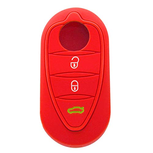 KNOSSOS 3 Button Folding Car Remote Control Silicone Protective Sleeve For Alfa Romeo - Red