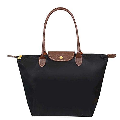Mynos Brand Women's Stylish Zipper Waterproof Handbag Hobos Shoulder Tote Beach Fold Bag (Big, Black)