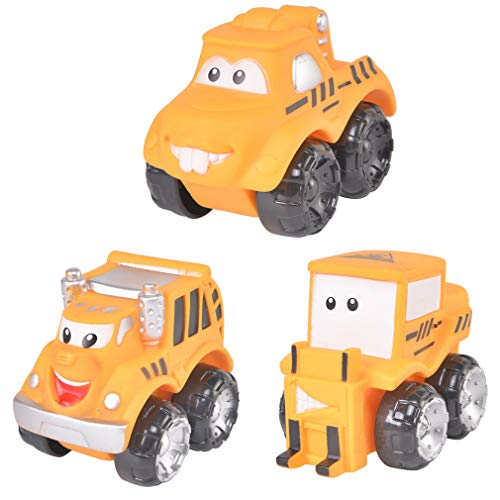 3 Pack Car Toy Set,Soft Rubber Slide Forward Race Toy Cars,Construction Trucks Cartoon Vehicles for 3 4 5 6 Years Old Boys Girls Kid Gift