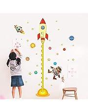 Muursticker ZOZOSO zonnestelsel hoogte meting muur Stickers voor kinderen kamers sterren ruimte buitenste hemel raket muur astronaut poster aap