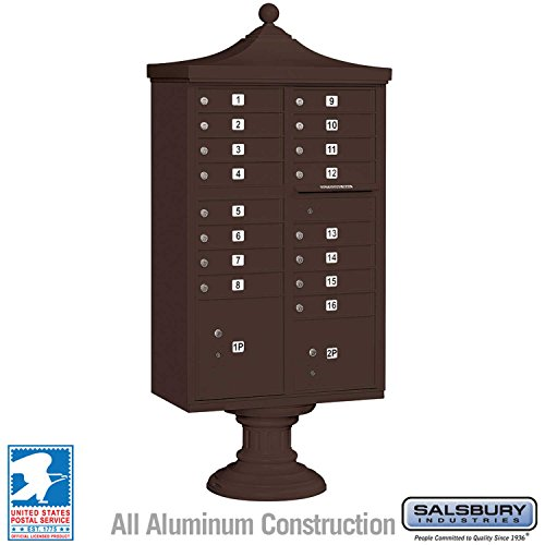 (Salsbury Industries 3316R-BRZ-U Regency Decorative CBU with CBU, Pedestal, CBU Top and Pedestal Cover, 16 A Size Doors, Type III, USPS Access, Bronze)