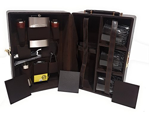 Luxurious Necessities Portable Leatherite Travel Briefcase with 16 Accessories Set (Tan Brown) Price & Reviews
