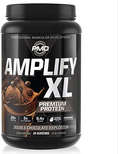 PMD Sports Amplify XL Premium Whey Protein Supplement Hydro Greens Blend – Glutamine and Whey Protein Matrix with Superfood for Muscle, Strength and Recovery – Double Chocolate Explosion 24 Servings