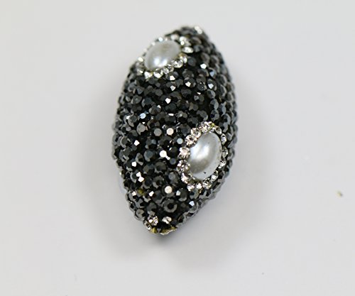 LovelyBead Oval Pave with rhinestones Spacer (35mm) (White Pearl) - Spacer Oval