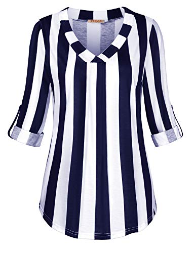 Sleeve Striped V-neck Top - Baikea Striped Pullover for Women, Juniors Split V Neck Cuffed Sleeve Tunic Tops Flare Hem Button Detail Knitwear Loose Fit Shirts Vacation Gorgeous Blouses Blue & White XL