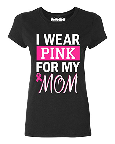 P&B I Wear for My Mom Breast Cancer Awareness Women's T-Shirt, Mr, Black/2