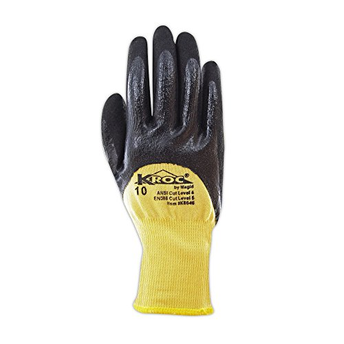 Magid Glove & Safety K8646-7 K-ROC Double-Dip Nitrile Coated Work Gloves Cut Level 4, 9, Yellow , 7 (Pack of 12) by Magid Glove & Safety (Image #1)